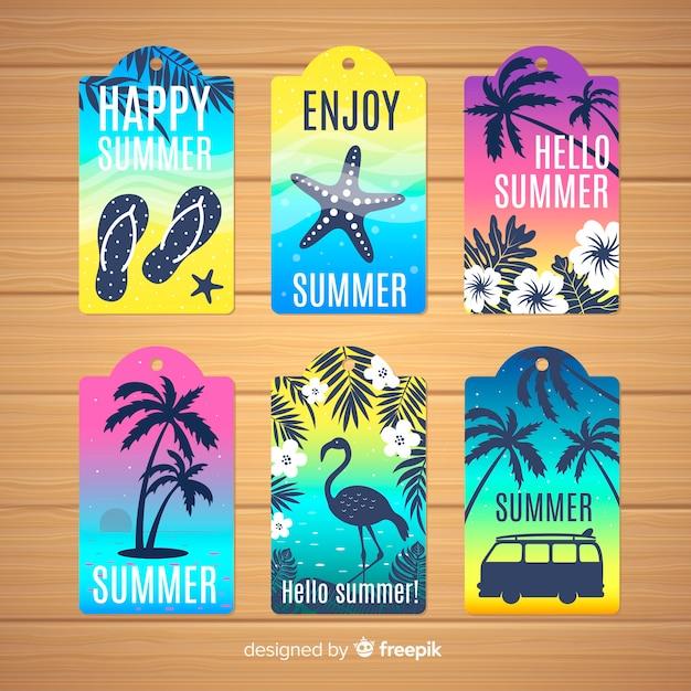 Colecção de etiquetas de verão Vetor grátis