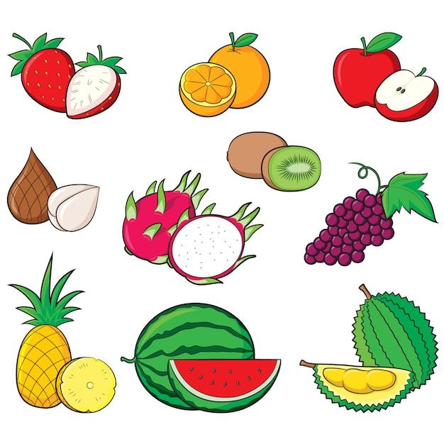 Colecção de frutas Vetor Premium