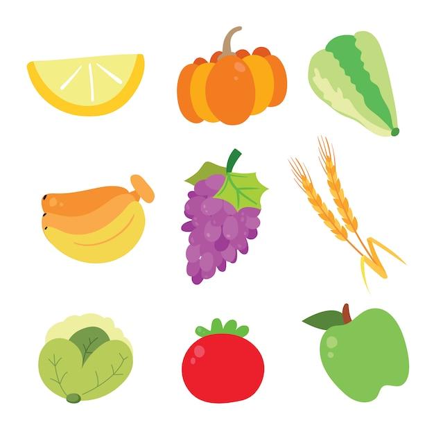 Colecção de ícones de vegetais Vetor grátis