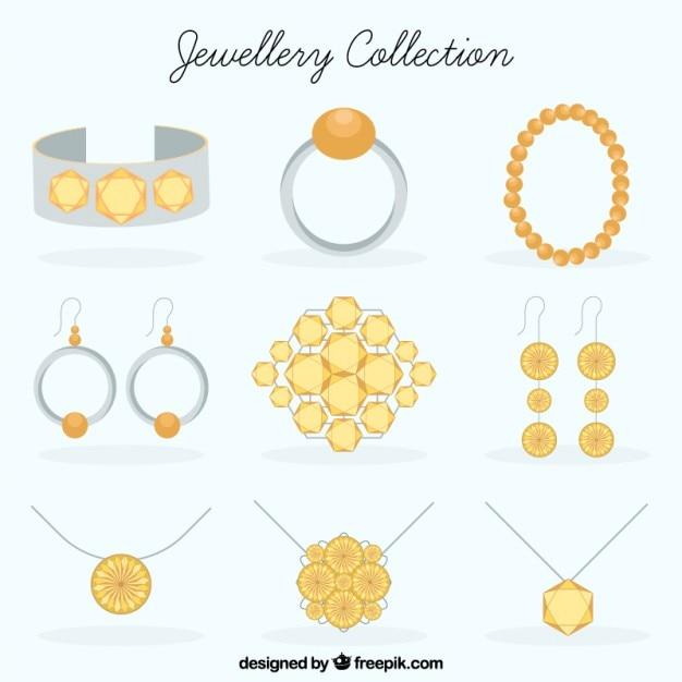 Colecção de jóias em design plano Vetor Premium