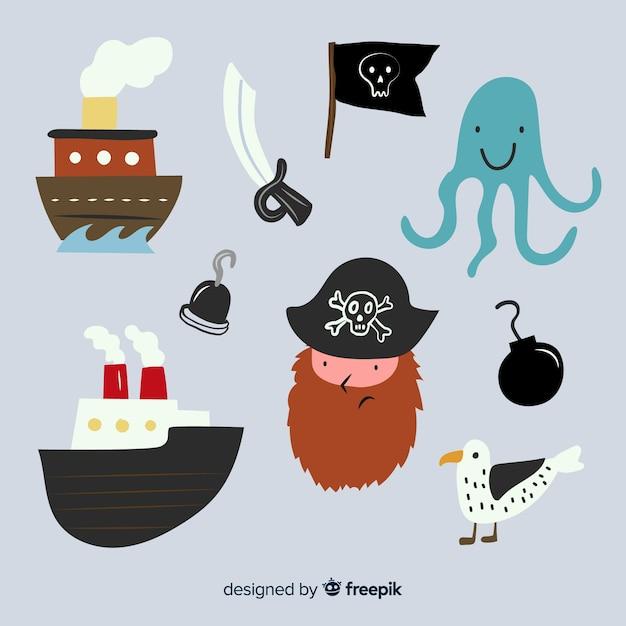 Colecção de personagem vida marinha Vetor grátis