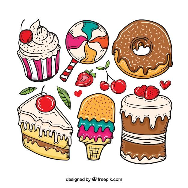 Colecção de sobremesas de doces em estilo desenhado à mão Vetor grátis