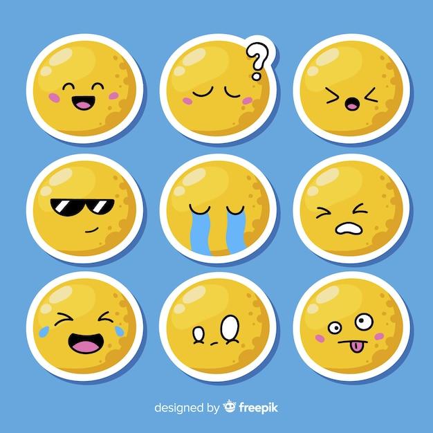 Colecção plana de reacção emoticon Vetor grátis