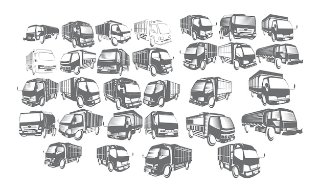 Coleções de conjunto de logotipo do caminhão Vetor Premium