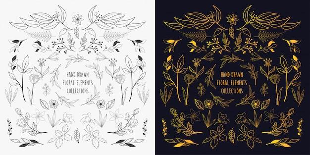 Coleções de elementos florais mão desenhada Vetor Premium