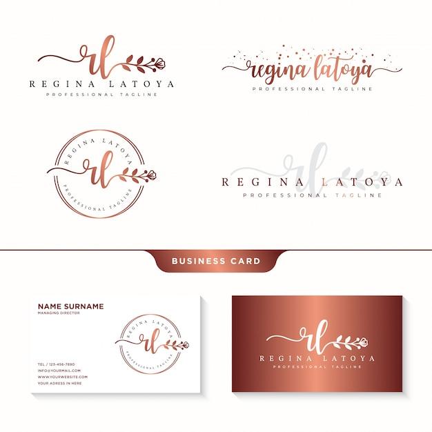 Coleções de logotipo feminino e modelo de cartão de visita Vetor Premium