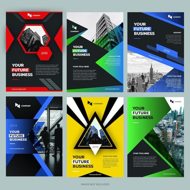 Coleções de modelos de design de capa de brochura Vetor Premium