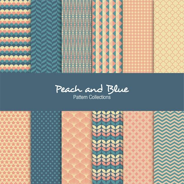 Coleções de pêssego e padrão azul Vetor Premium