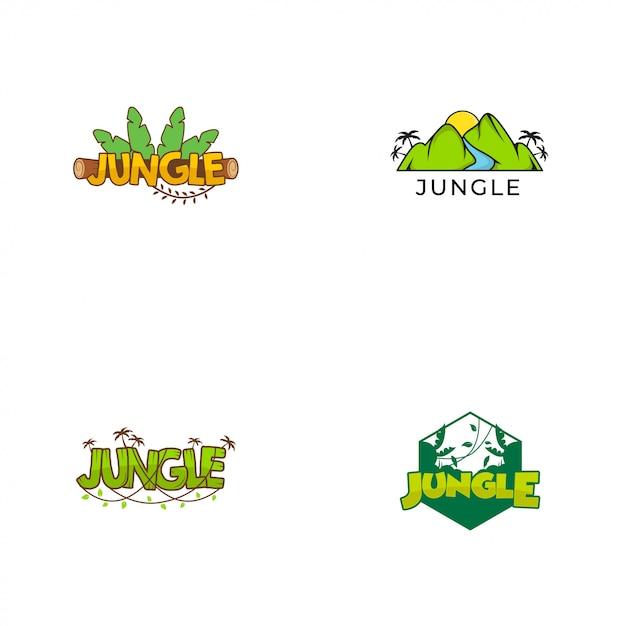 Coleções do logotipo da selva Vetor Premium