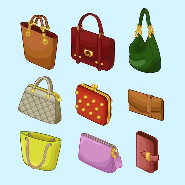 Coleções womans handbags icons Vetor Premium