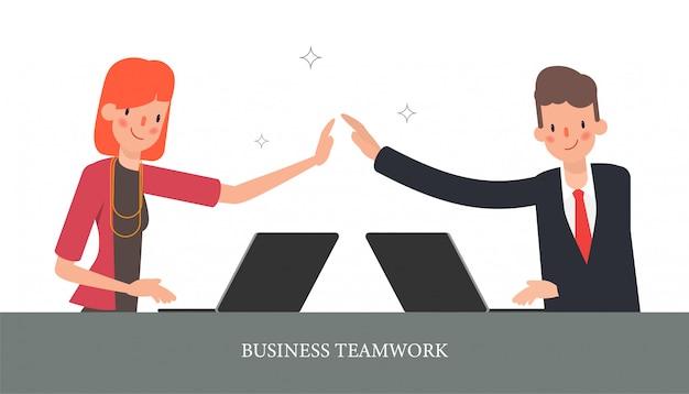 Colega do caráter do escritório dos trabalhos de equipa do negócio. Vetor Premium