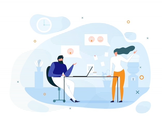 Colegas de trabalho planas e comunicação informal do escritório Vetor Premium