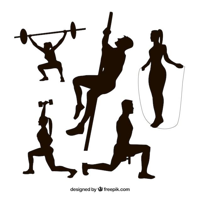 Coleiras de silhuetas de fitness Vetor grátis