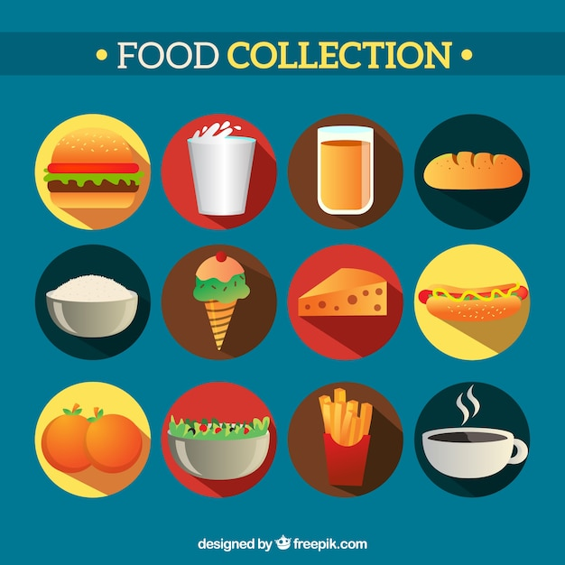 Coleta de alimentos saborosos Vetor grátis