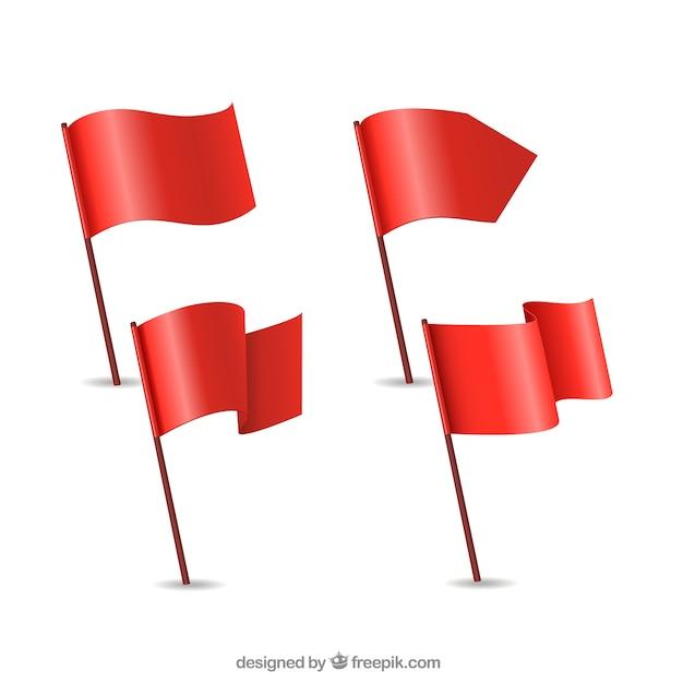 Coleta de bandeiras vermelhas Vetor Premium