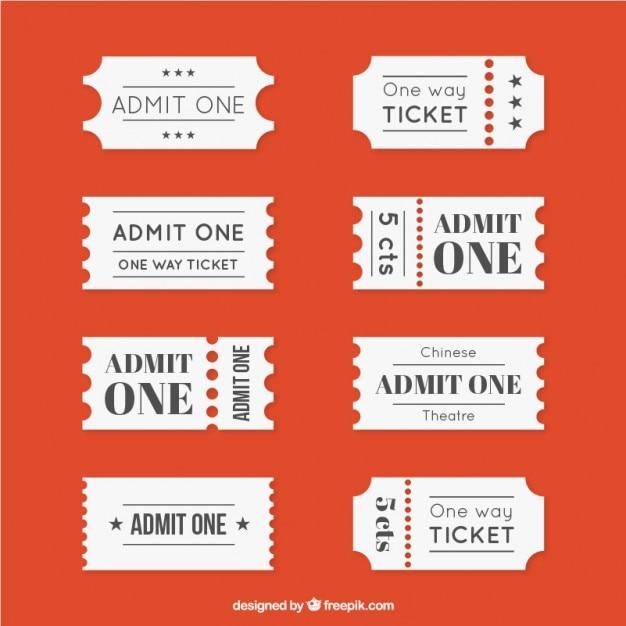 Coleta de bilhete de cinema diferente Vetor grátis