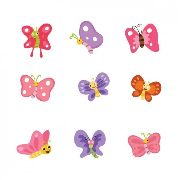 Coleta de borboletas coloridas Vetor grátis
