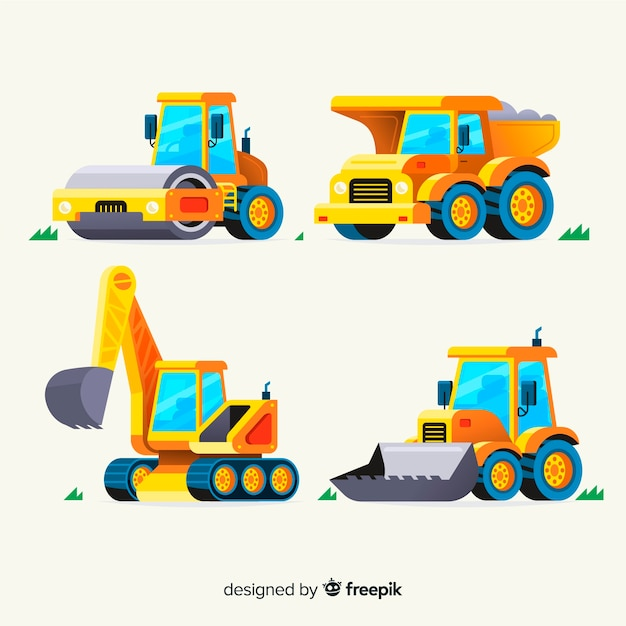 Coleta de caminhões de construção plana Vetor grátis