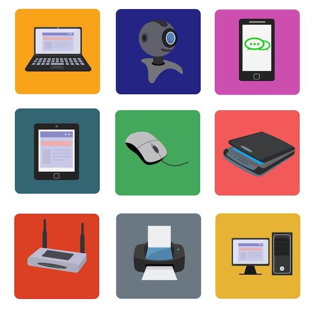 Coleta de dispositivos eletrônicos Vetor grátis