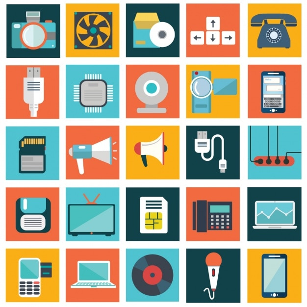 Coleta de dispositivos tecnológicos Vetor grátis