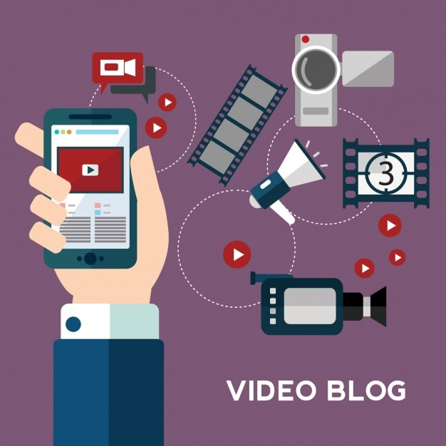 Coleta de elementos de vídeo Vetor grátis