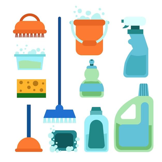 Coleta de equipamentos para limpeza de superfícies Vetor grátis