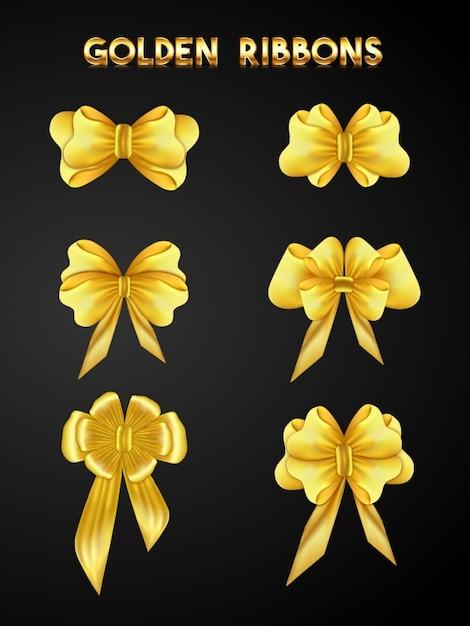 coleta de fitas douradas Vetor Premium