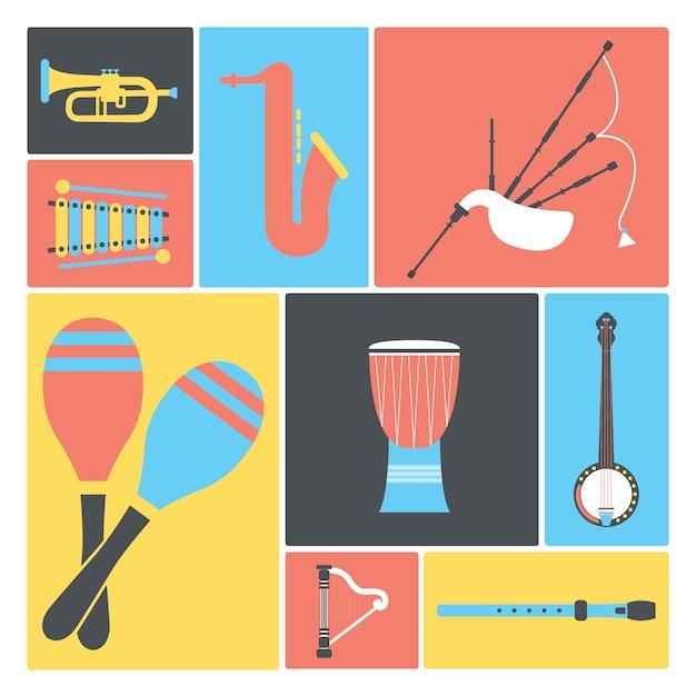 Coleta de instrumentos musicais Vetor grátis