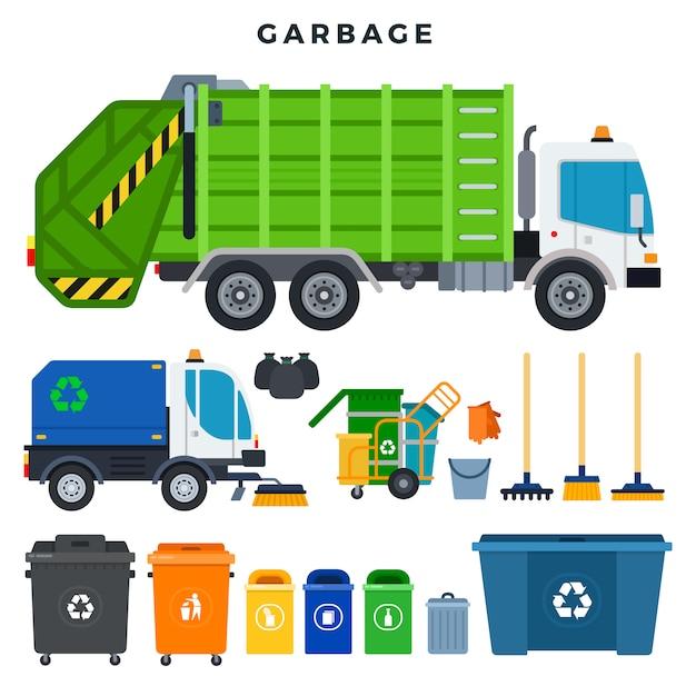 Coleta de lixo e disposição, conjunto. recipientes para coleta seletiva e reciclagem de resíduos. tudo para remoção de lixo Vetor Premium
