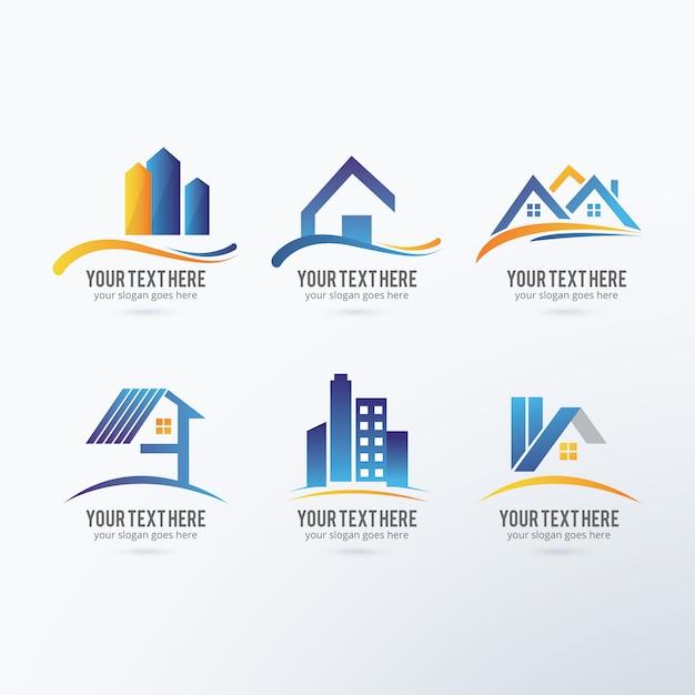 coleta de logos imobiliário Vetor grátis