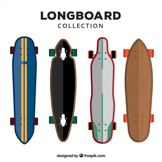 Coleta de longboard no design plano Vetor grátis