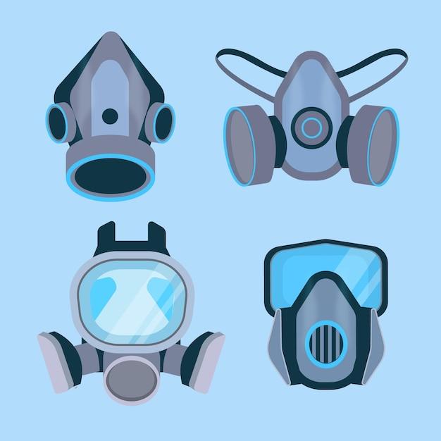 Coleta de máscara de gás respirador Vetor grátis