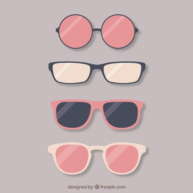 Coleta de óculos adorável Vetor grátis