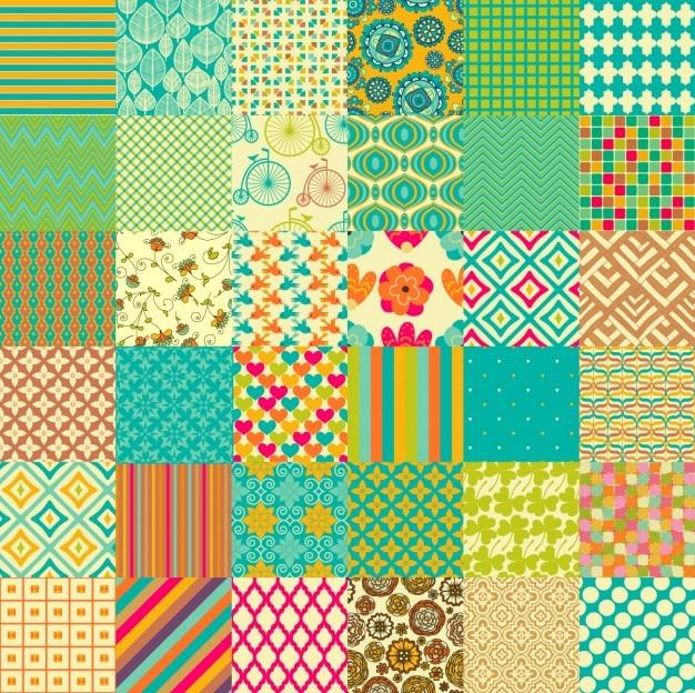 Coleta de padrões coloridos Vetor grátis