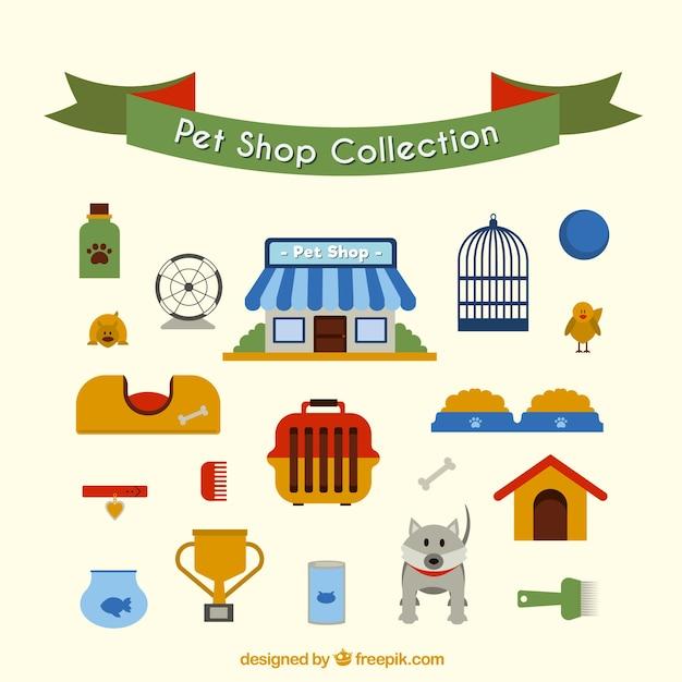 Coleta de pet shop em estilo plano Vetor grátis
