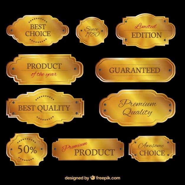 Coleta de placas de ouro Vetor grátis