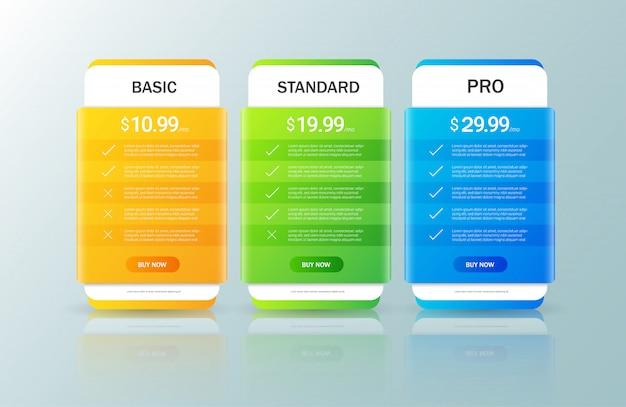 Coleta de plano de preços Vetor Premium