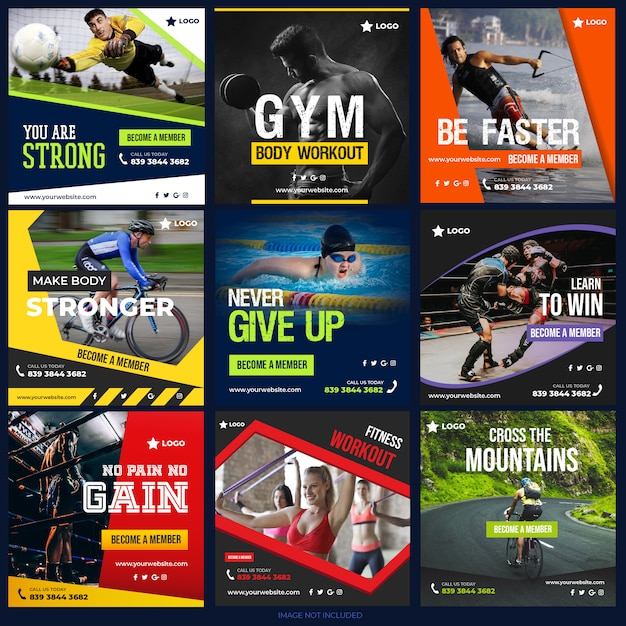 Coleta de post de mídia social de esportes para marketing digital Vetor Premium