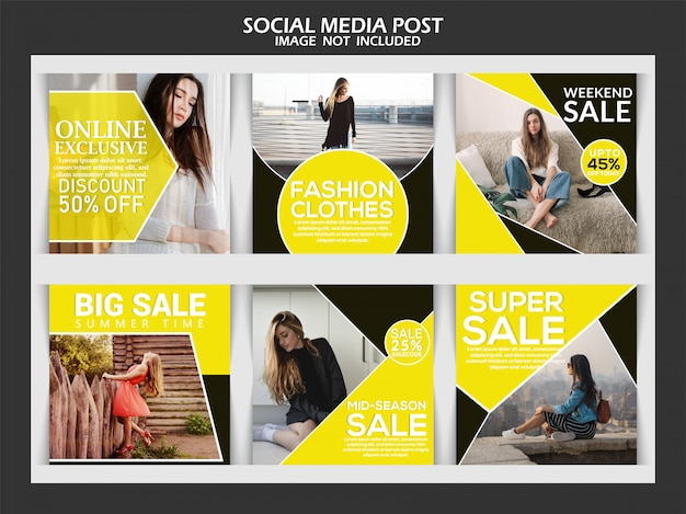 Coleta de postagem de mídia social Vetor Premium