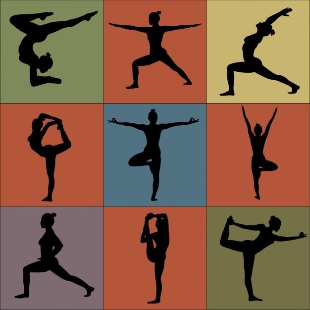 Coleta de posturas de yoga Vetor grátis