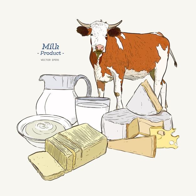 Coleta de produtos lácteos. vaca, produtos lácteos, queijo, manteiga, creme azedo, requeijão, iogurte Vetor Premium