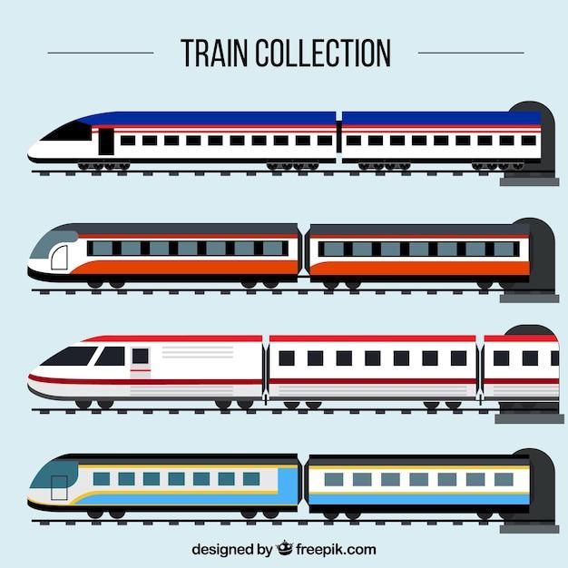 Coleta de trem de passageiros Vetor grátis