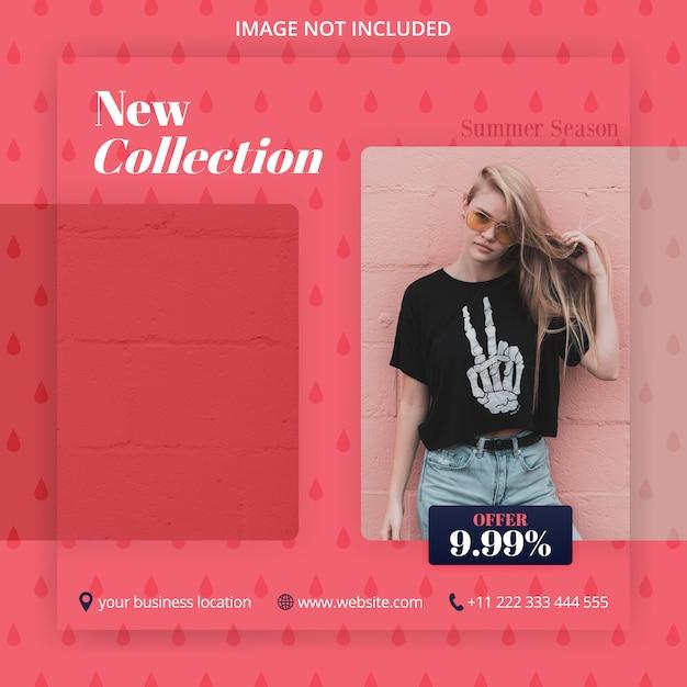 Coleta e oferta de novas modas nas mídias sociais postam anúncios Vetor Premium