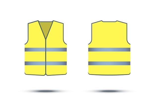 Colete de segurança reflexivo amarelo isolado no fundo branco, frente e verso Vetor Premium