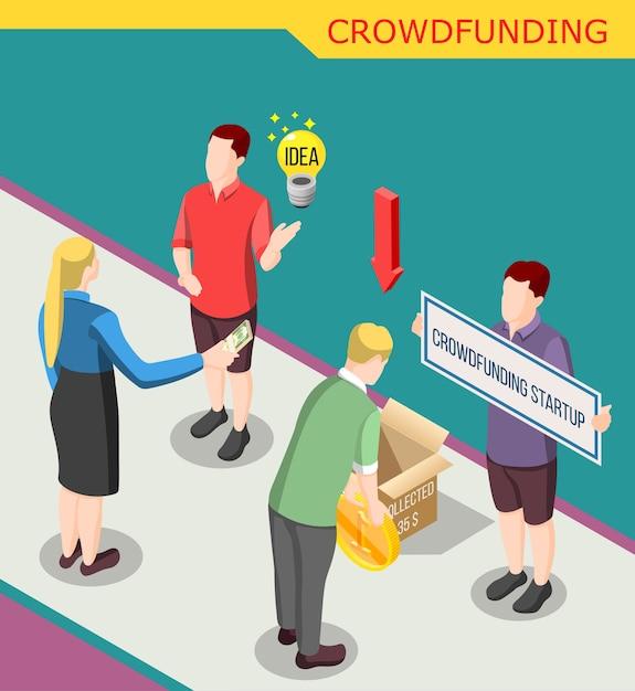 Colete dinheiro para isométrico de inicialização de crowdfunding Vetor grátis