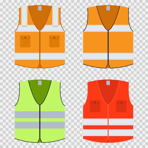 Colete segurança vector plana conjunto. jaqueta de construção em laranja, vermelho e verde claro com listras refletivas. uniformes isolados Vetor Premium