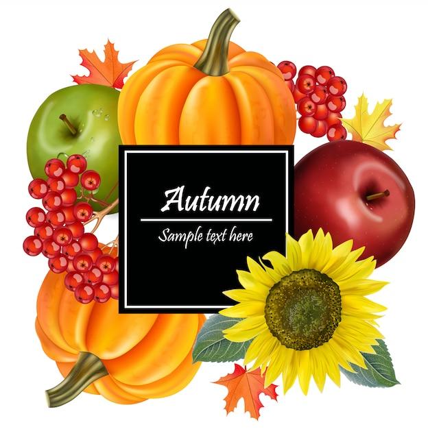 Colheita de outono com girassol e abóboras Vetor Premium