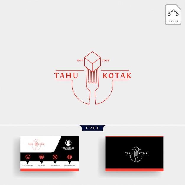 Colher, garfo restaurante logotipo modelo e cartão de visita Vetor Premium