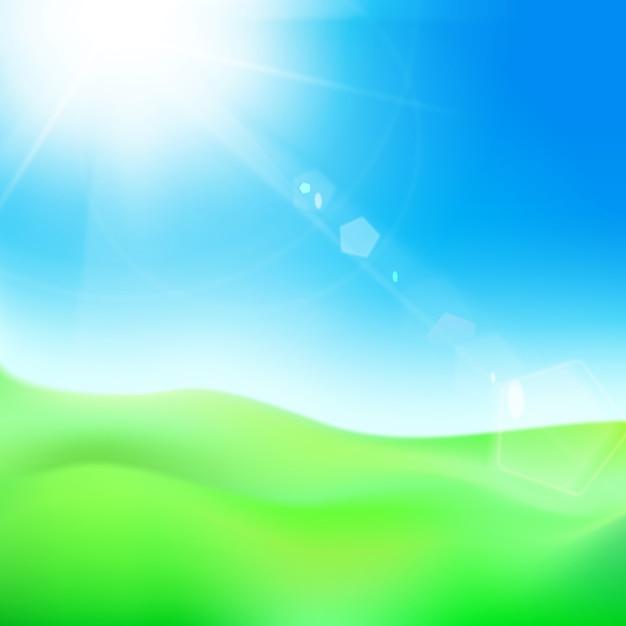Colina verde sob o céu azul com sol. Vetor grátis