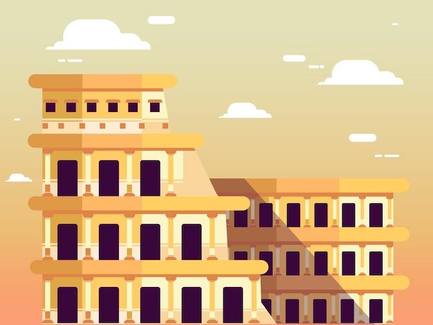 Coliseu romano no céu Vetor Premium